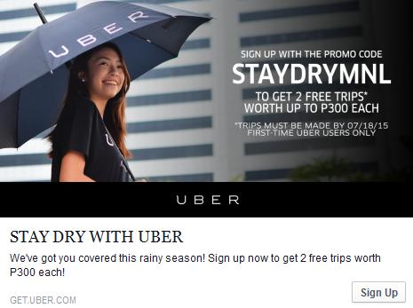Uber Manila Rainy Days Promo!
