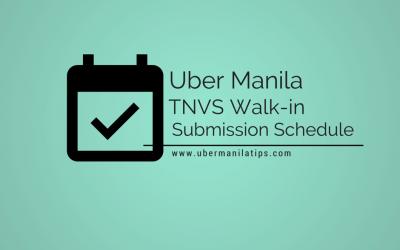 Uber Manila TNVS Submission Schedule