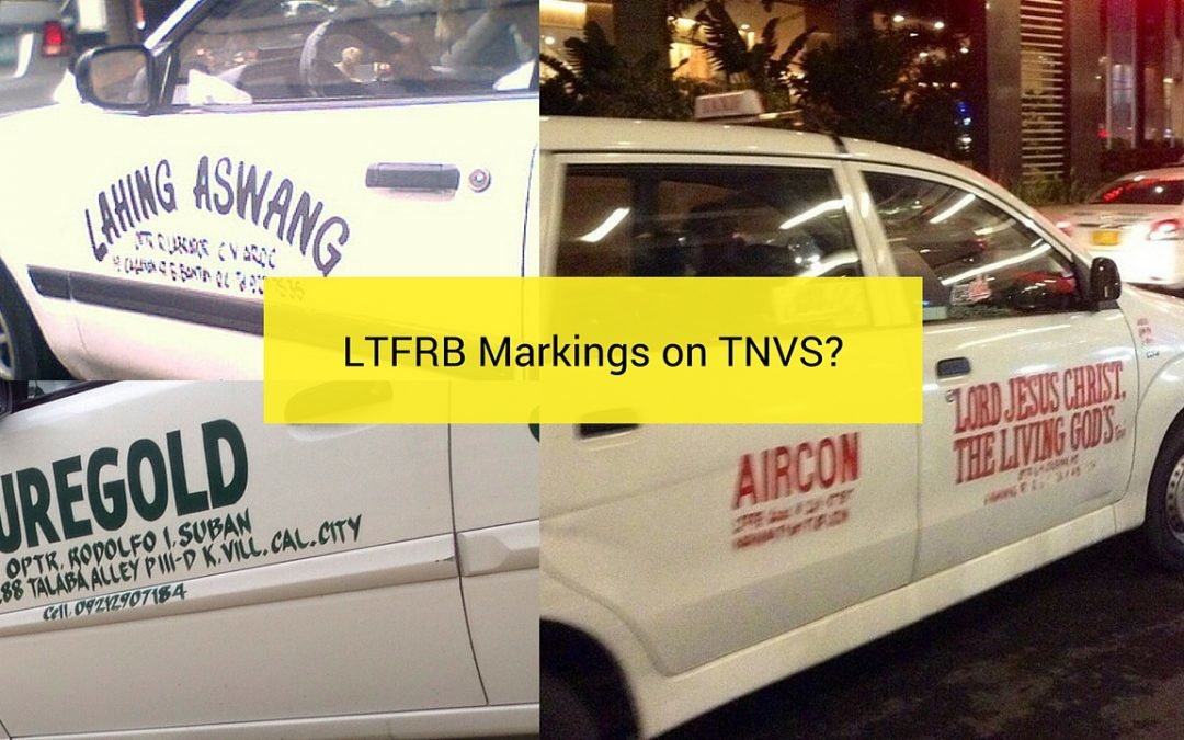 TNVS to put LTFRB Markings According to Memorandum Circular No. 2015-025