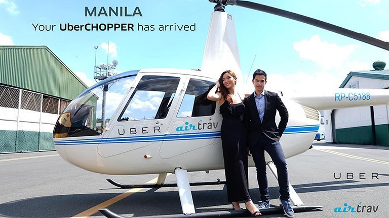 #UberChopper flew above Manila traffic