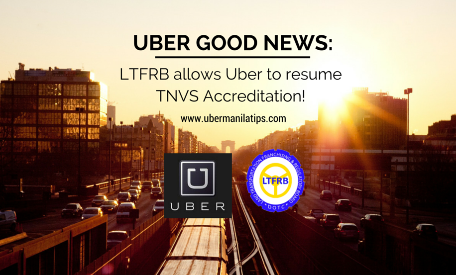 LTFRB allows Uber to resume TNVS Accreditation