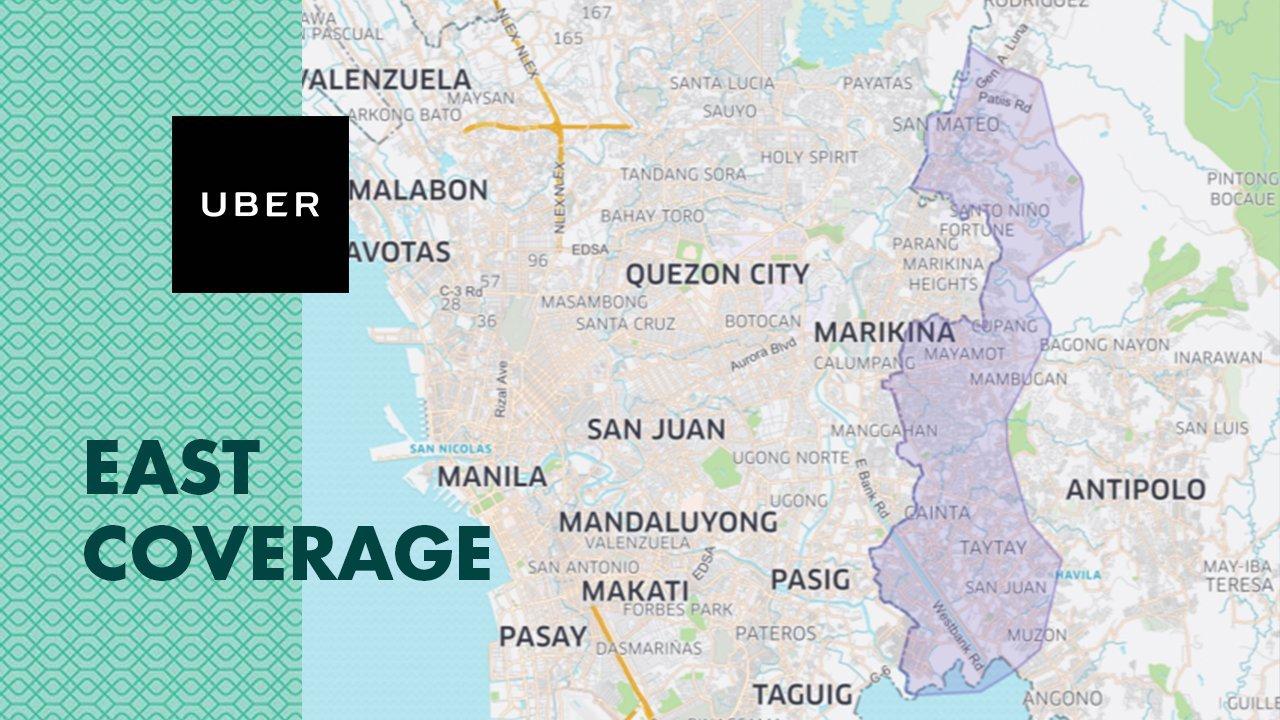 Uber East of Metro Manila Coverage