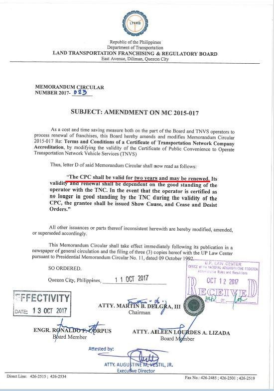 LTFRB Memorandum Circular No. 2017-023 TNVS CPC validity extension to 2 years- UberMNLTips